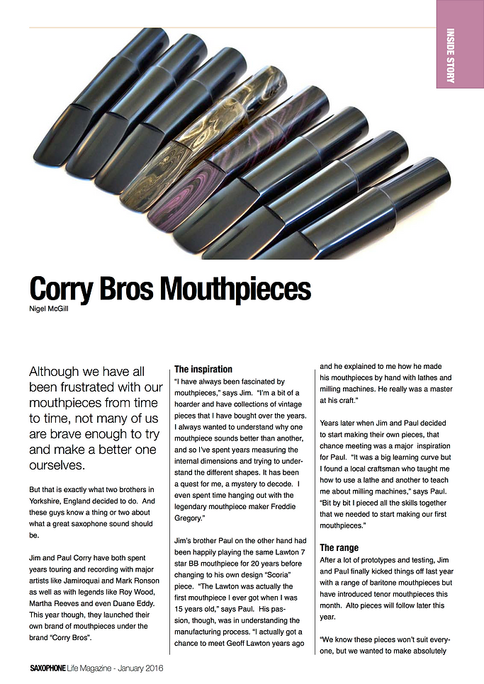 Corry Bros Mouthpieces - Saxophone Life Magazine