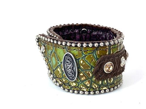 "Opal Italia Crocol & Amber 1.75"" Wide Bracelet Cuff"