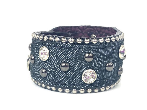 Black Boar Hide Cuff Bracelet