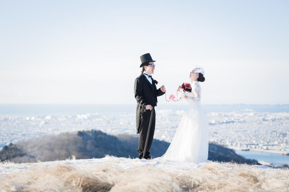 石巻を一望する馬っこ山山頂での結婚式前撮り