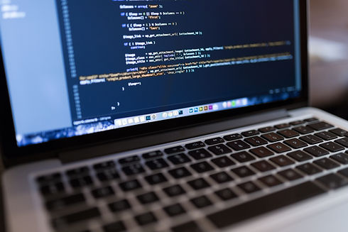 Code on a laptop computer