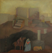 Rejsen til Egypten, 70x72, Olie på lærred