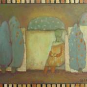 Dame i pavillon, 21,5x28,5, olie på træ