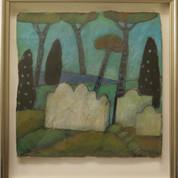 Italiensk landskab, 21,5x21,5, akryl og pastel på papir