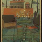 Il Borgo, 26,5x20,5, akryl på papir