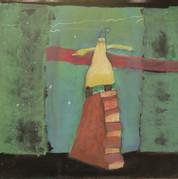 Dame på trappe, 30x30,5, akryl på papir