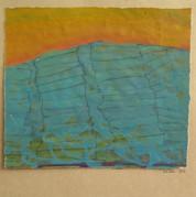 Christiansø solopgang, 23,5x27, akryl papir