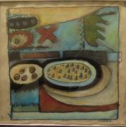 Abstraktion 2, 16,5x16, akryl og pastel på papir