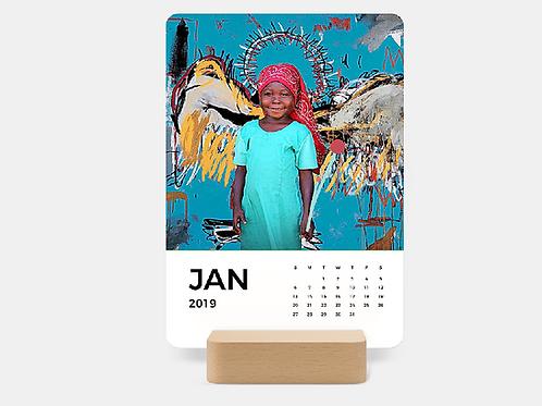 2019 Floating Desk Calendar - Wood base
