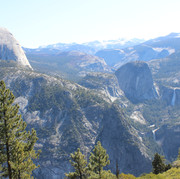 Vernal and Nevada Fall to the right and Half Dome to the left, photographed from Glaicer Point