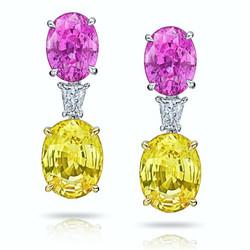 Pink & Yellow Sapphire Earrings