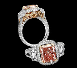 Pink Diamond Ring with Pave