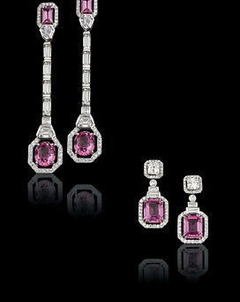 Hanging Earrings with Diamonds and exotic rare gems