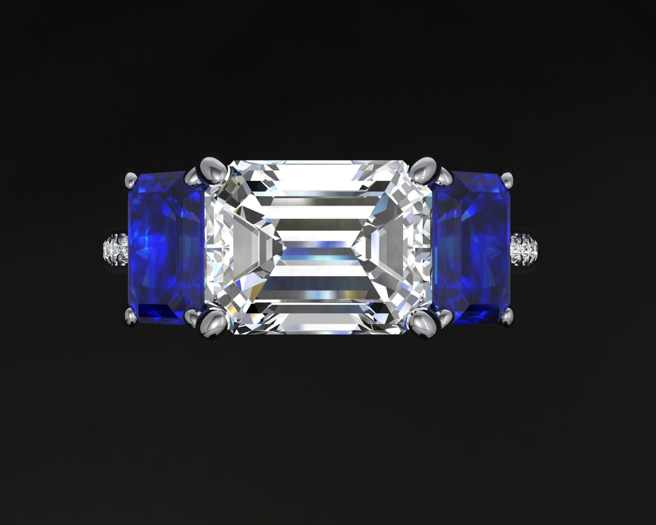 Emerald Cut Diamond with saph sides