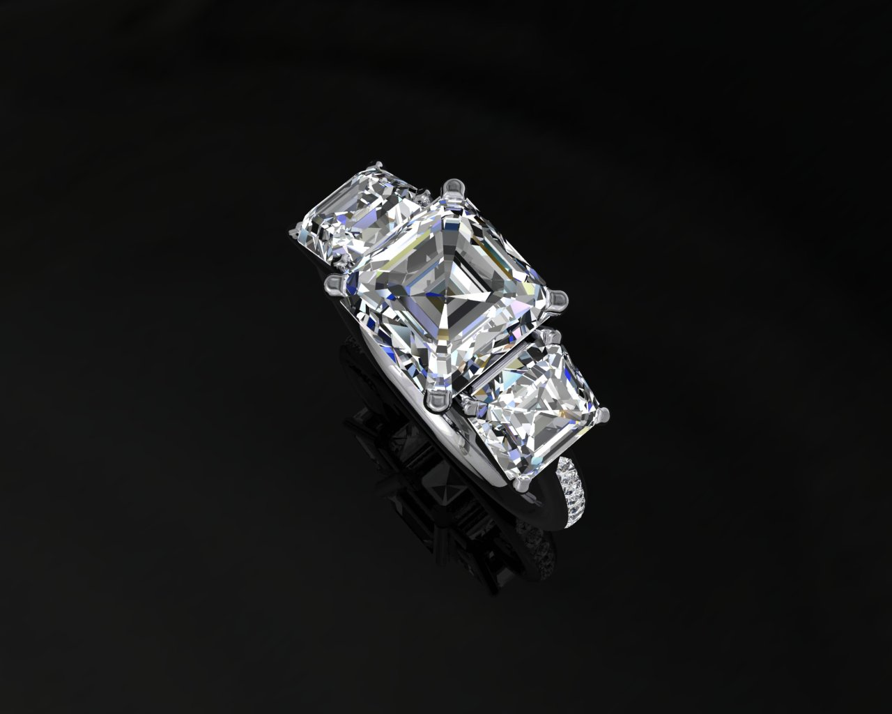 3 Stone Asscher cut diamond ring