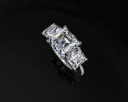 3 Stone Asscher cut diamond ring