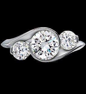 3 stone diamond engagement ring round brillian cut