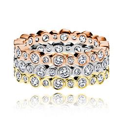Round diamond bezel eternity bands