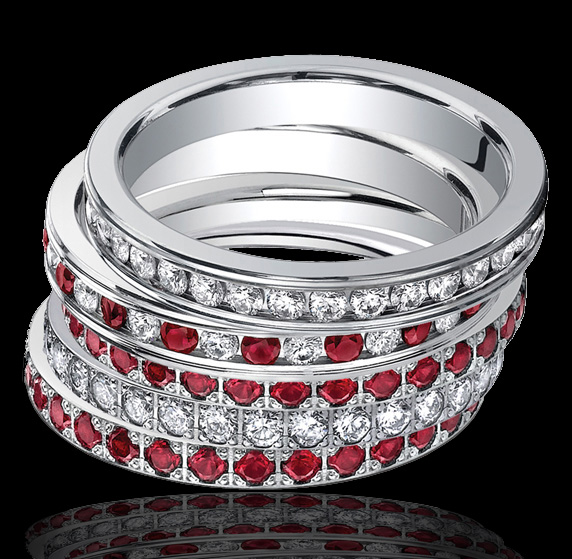 Ruby & Diamond Eternity Bands