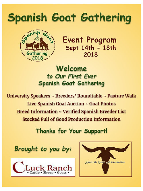 Spanish Goat Gathering Event Program
