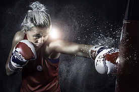 woman boxing training