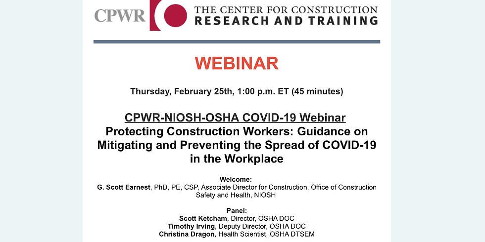 CPWR-NIOSH-OSHA COVID-19 Webinar
