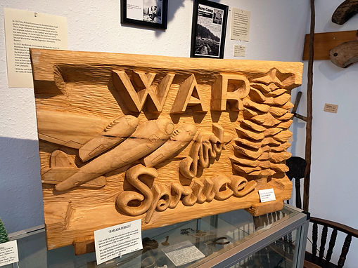 The War and Spruce Display inside the Port Clements Museum
