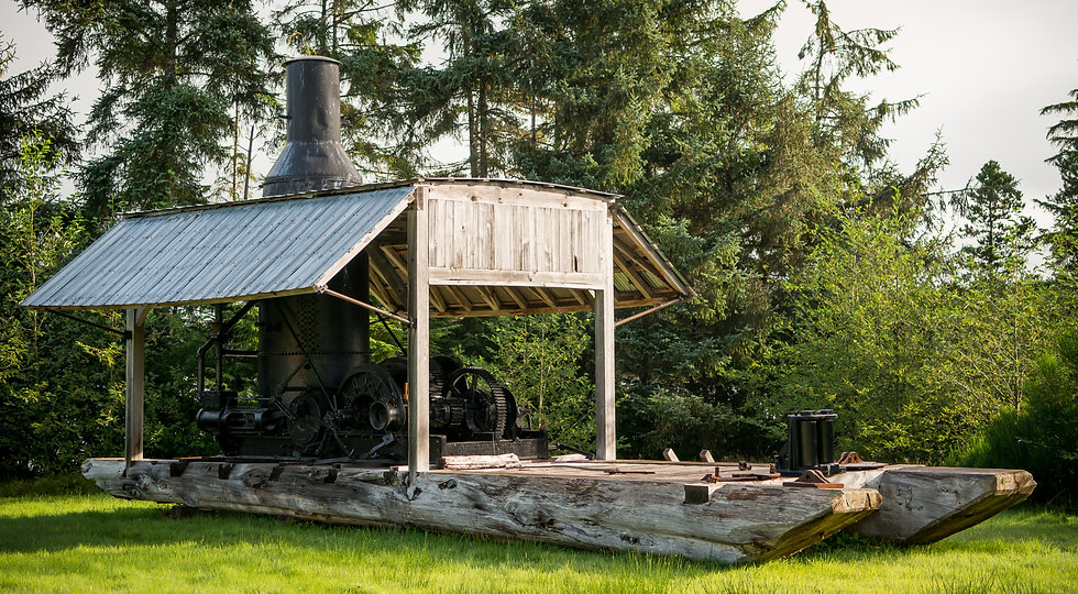 A steam donkey on display at the Port Clements Museum on Haida Gwaii