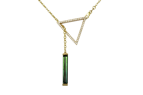 GEO Diamond and green tourmaline lariat necklace