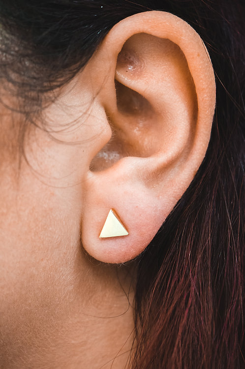 GEO GOLD TRIANGLE AND BAR EARRINGS