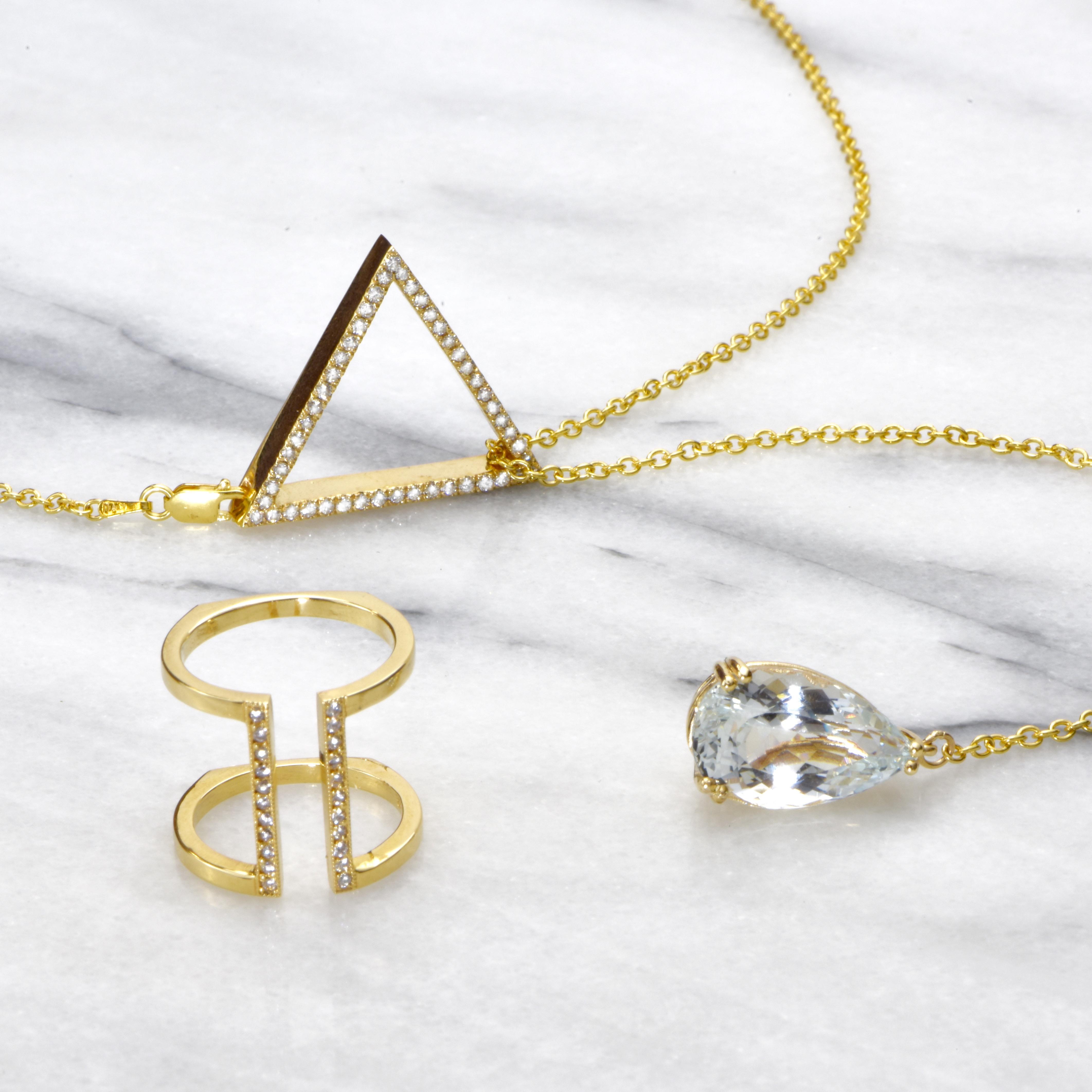 Aquamarine lariet necklace