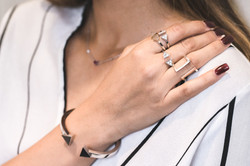 White gold stackable rings