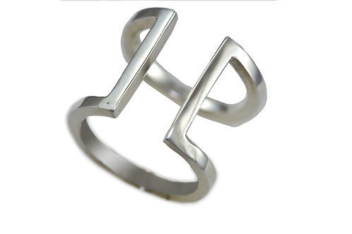 GEO SILVER DOUBLE BAR RING
