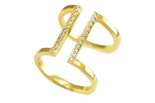 GEO Diamond Double Bar ring