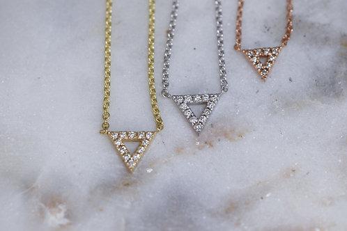 Open diamond triangle necklace