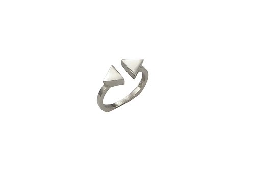 GEO SILVER DOUBLE TRIANGLE RING