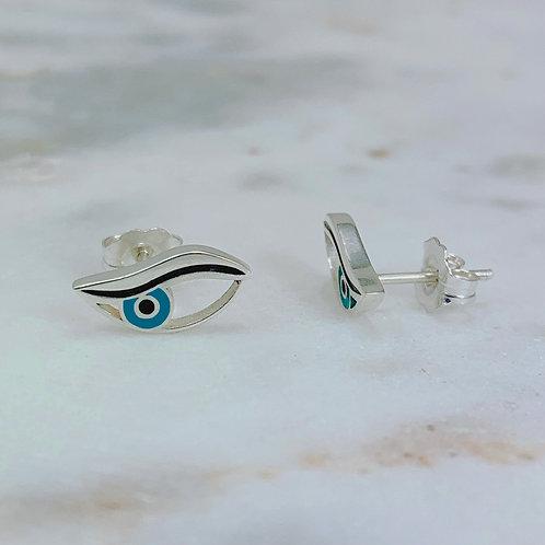 """Evil Eye Earrings - """"Evil Side Eye"""" Studs - Silver"""