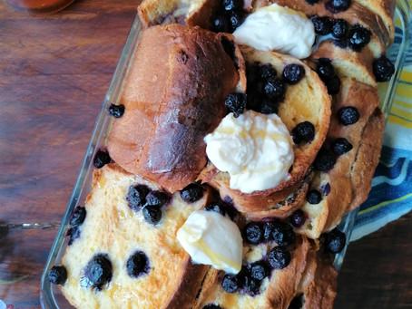 Baked mascarpone & blueberries french toast