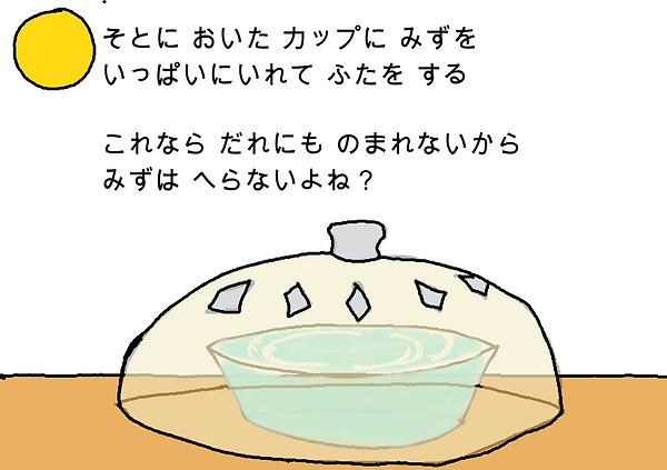 外に置いたカップに水をいっぱいに入れて蓋をする。これなら誰にも飲まれないから水は減らないよね?