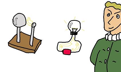 電気が流れる。