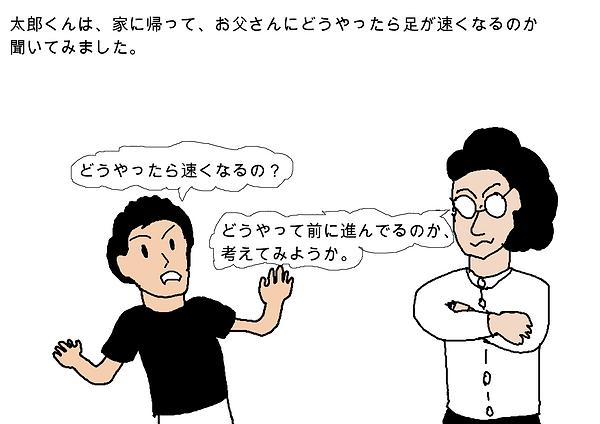 太郎くんは、家に帰って、お父さんにどうやったら足が速くなるのか聞いてみました。どうやったら速くなるの?どうやって前に進んでるのか、考えてみようか。