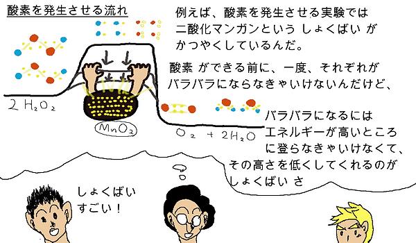 ハカセ:例えば、酸素を発生させる実験では、二酸化マンガンという触媒が活躍しているんだ。酸素ができる前に、一度、それぞれがバラバラにならなきゃいけないんだけど、バラバラになるには、エネルギーが高いところに登らなきゃいけなくて、その高さを低くしてくれるのが触媒さ。タロウ:触媒すごい!