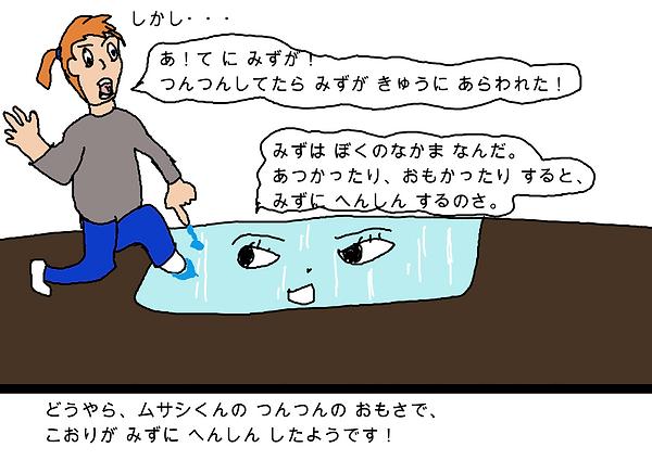 しかし、手に水がついて、ムサシくんは水が暑かったり、おもかったりすると、氷が水に変身することを聞きました。