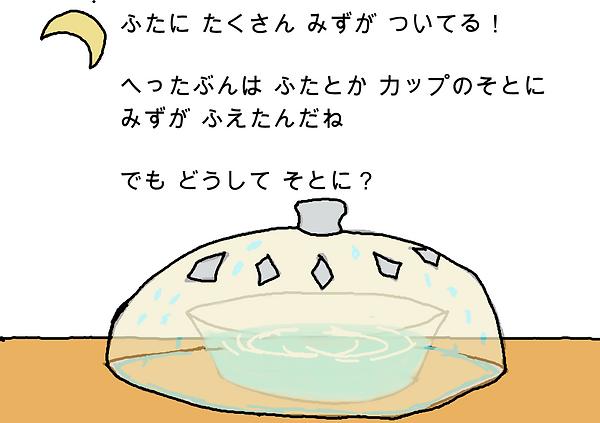 ふたにたくさん水が付いている!減った分はふたとかカップの外に水が増えたんだね。でもどうして外に?