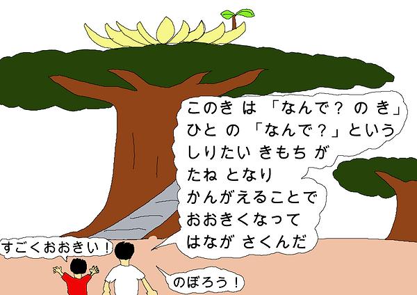 この木は「なんで?の木」人の「なんで?」という知りたい気持ちが種となり、考えることで大きくなって、花が咲くんだ。すごく大きい!登ろう!