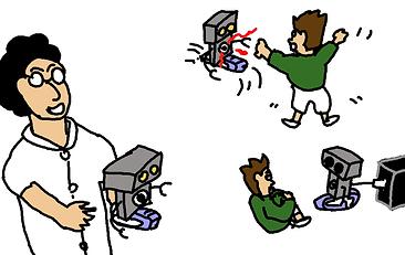 ロボットの友達と遊ぶけど、すぐに充電が必要。
