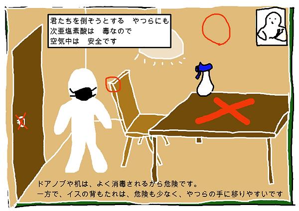 君たちを倒そうとする 奴らにも次亜塩素酸は毒なので空気中は安全です。ドアノブや机は、よく消毒されるから危険です。一方で、椅子の背もたれは危険も少なく、奴らの手に移りやすいです。