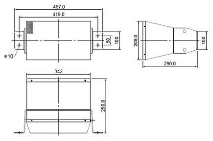 drawing of 200w horn speaker