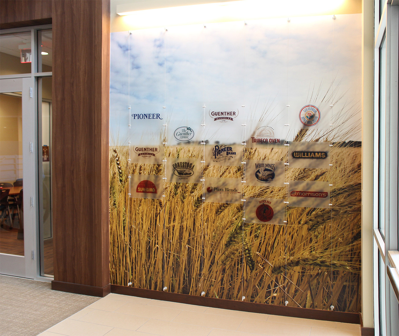Printed plexiglass and textured wall covering