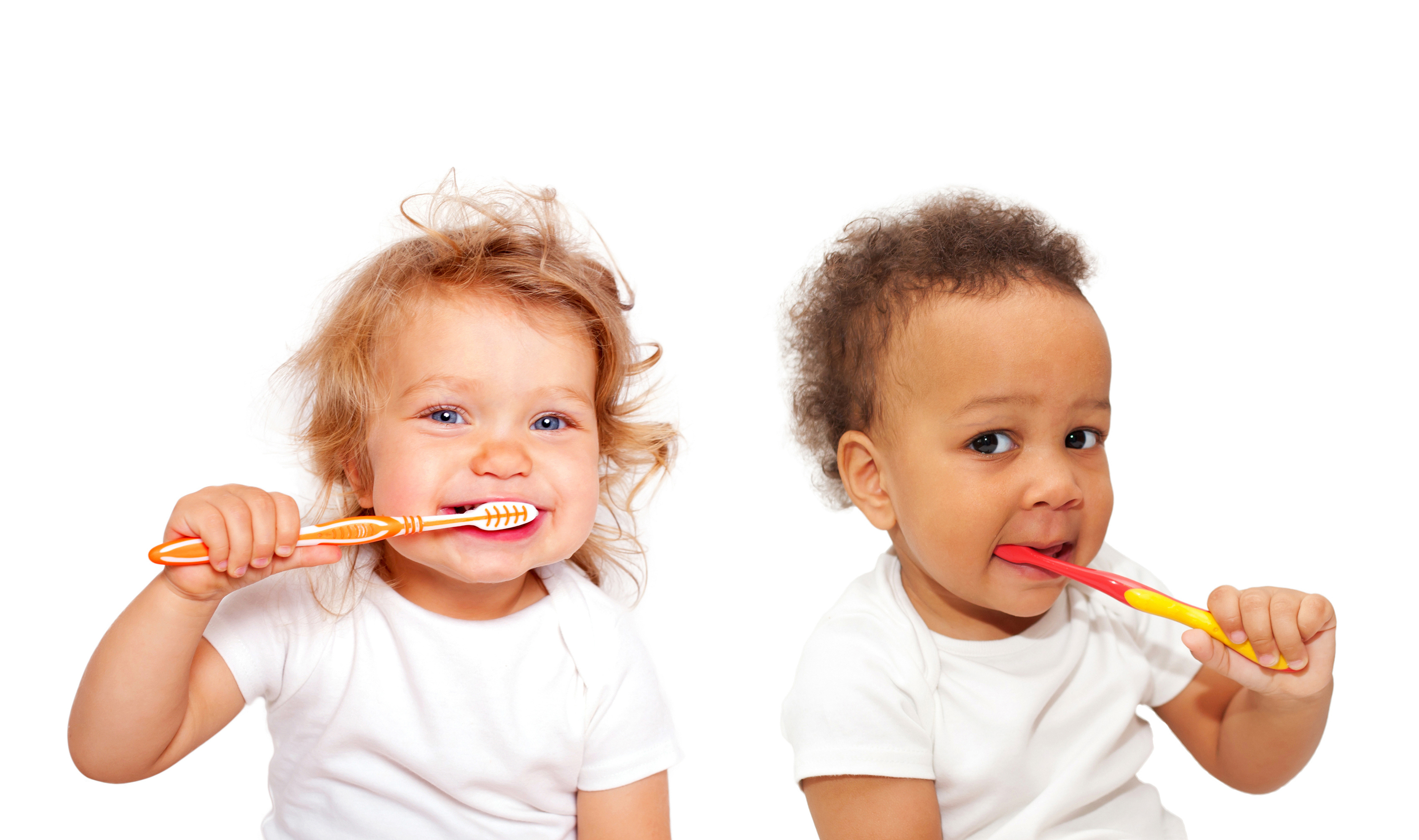Black and white baby toddlers brushing teeth.jpg Isolated on white background